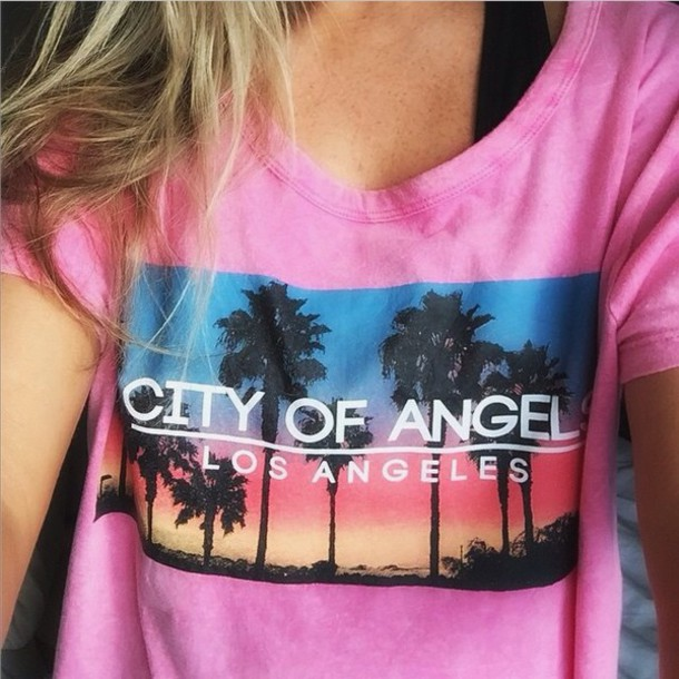 shirt pink city of angels los angeles palm tree print