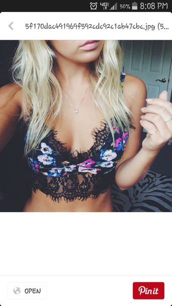 swimwear top shirt crop tops lace bralette rave flowers floral