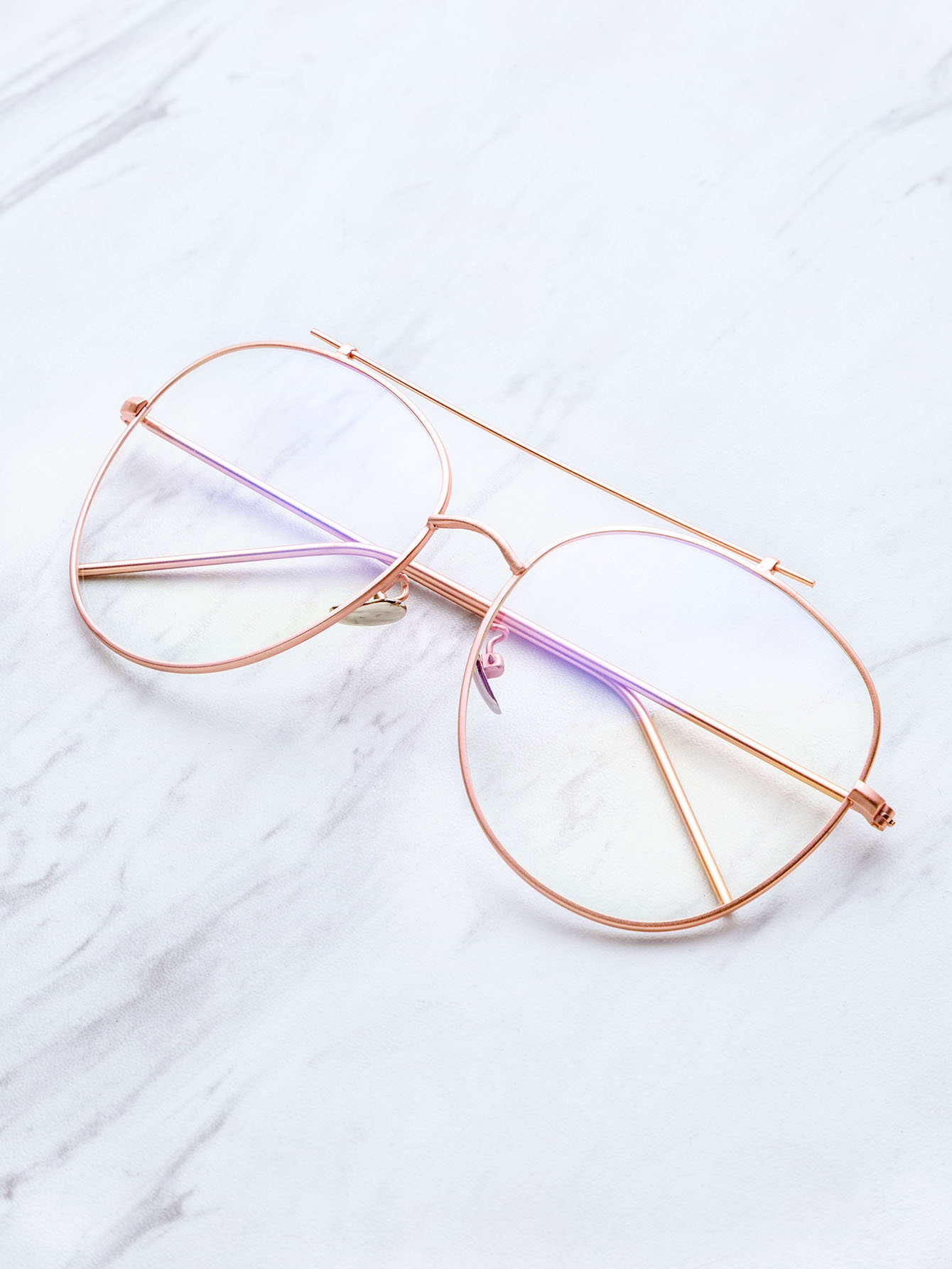 08a262f0377 Rose Gold Frame Clear Lens Double Bridge Glasses -SheIn(Sheinside)