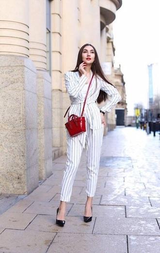 pants striped pants striped blazer stripes blazer matching set bag red bag crossbody bag high heel pumps pumps