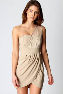 Polly mesh one shoulder wrap front bodycon dress at boohoo.com