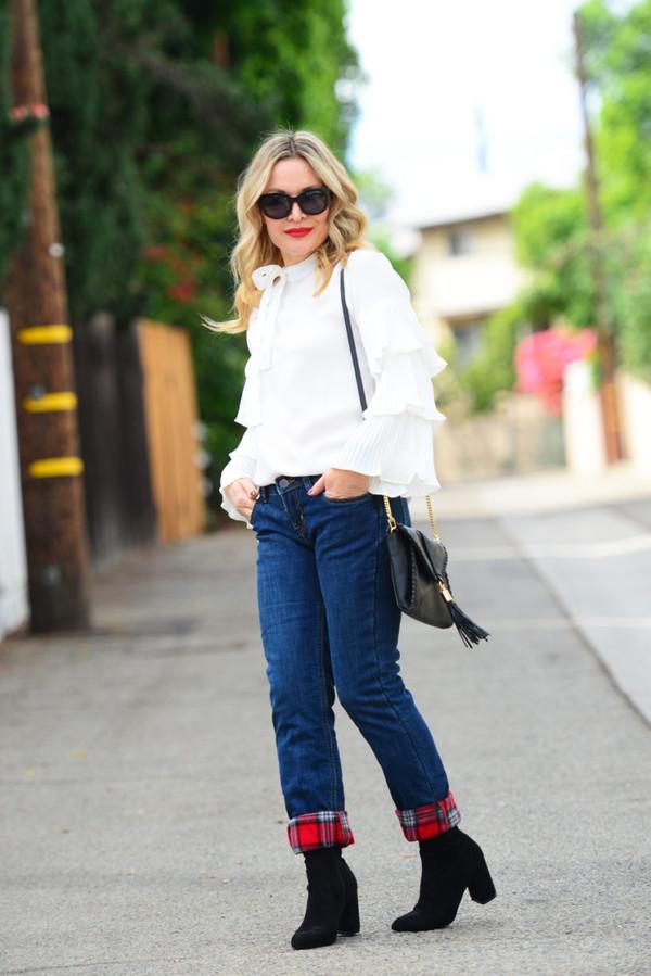 2bcb69e5b4c5e3 thehuntercollector blogger blouse jeans shoes bag sunglasses ruffle  shoulder bag ankle boots white blouse