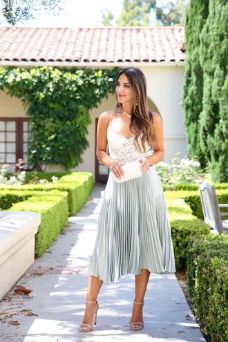 skirt blogger blogger style midi skirt pleated skirt clutch pleated metallic pleated skirt high heels high heel sandals sandals lace top earrings