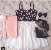 shoes,bag,dress,underwear,floral bustier,hat,shirt,crop,crop tops,crop tee,croptee,top,t-shirt,floral crop top,floral crop tee,floral,white,skirt,white skirt,skater skirt,skater,white skater skirt,black,bow,black bow,pink,purse,pink purse,clutch,pink clutch,light pink,light pink purse,light pink clutch,black shoes,black high heels,black high-heels,high heels,high-heels,black wedges,wedges,pink bag,flower bustier,black strappy wedges,cute skirt and blouse,blouse,tank top,heels,floral top,bustier crop top,cute,clothes,pink and black top,tulle skirt,bustier,black heels,girly,bows,bralet top,vest,hair accessory,spring,spring outfits,pretty,nice,chiffon skirt,summer,flowers,lovely,sweet