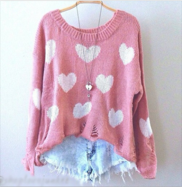 sweater shorts pink heart sweater cute fashion heart shirt heart ripped pastel pink pink sweater