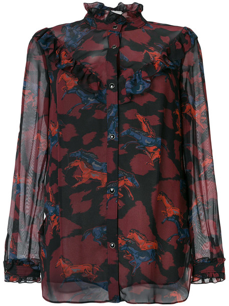 Coach - horse printed shirt - women - Polyester/Cupro - 4, Red, Polyester/Cupro
