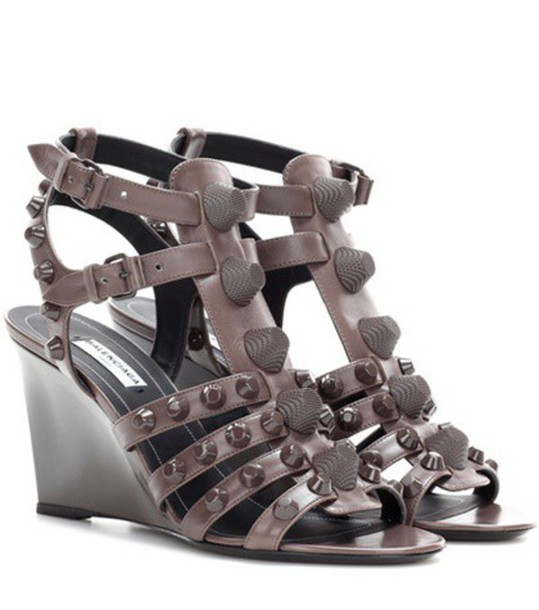 Balenciaga sandals wedge sandals leather brown shoes