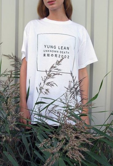 shirt t-shirt tumblr white yung lean tumblr clothes tumblr shirt