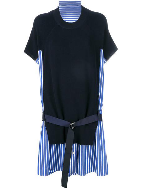 Sacai dress knitted dress women cotton blue