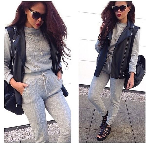 sweater tracksuit grey sweatpants leather jacket sunglasses pants