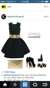 dress,black,cute,gorgeous,belt,gold,mature look,fashion,style,chic,heartit,shoes,heels,red,make-up,cocktail dress,chain,cute dress,jewerly,straps,lipstick,ootd,bag