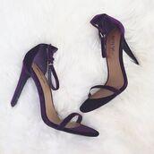 shoes,nastygal,heels,stilettos,ankle strap,skinny strap,purple,velvet