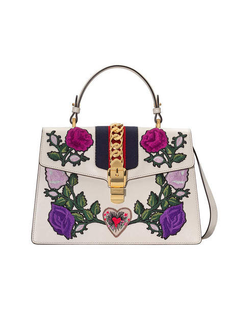 gucci metal embroidered women bag leather white suede