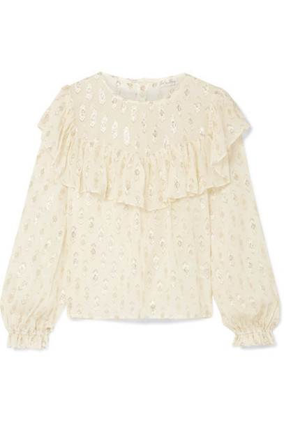 LoveShackFancy blouse metallic silk cream top