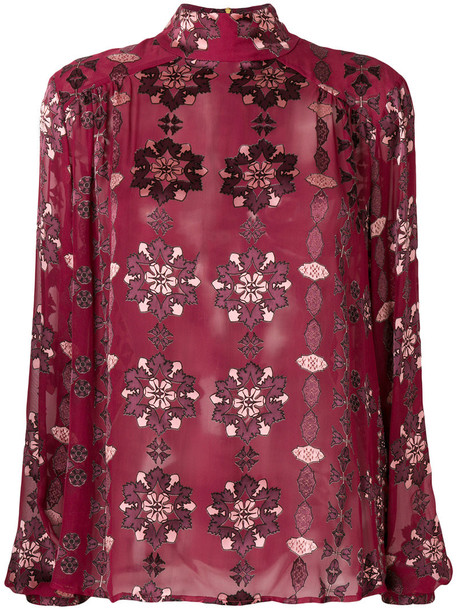 Pierre Balmain - sheer patterned blouse - women - Silk/Viscose - 42, Pink/Purple, Silk/Viscose