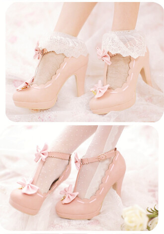 shoes heels kawaii pink girly bow medium heels ruffles