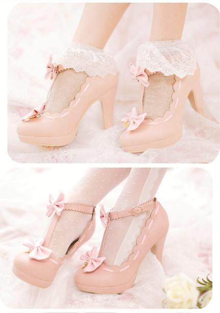 shoes heels kawaii pink girly bow medium heels ruffle pumps