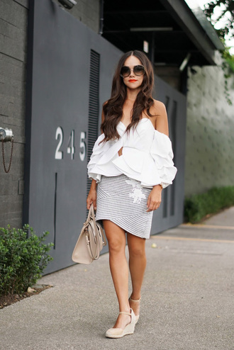 top tumblr white top off the shoulder off the shoulder top skirt mini skirt stripes striped skirt sandals wedges wedge sandals bag sunglasses