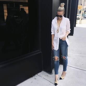 shoes tumblr chanel mules chanel chanel shoes denim jeans ripped jeans blue jeans shirt white shirt necklace sunglasses black sunglasses