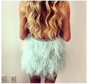 dress,sparkle,feathers,teal,tiffany blue,feather dress,party dress
