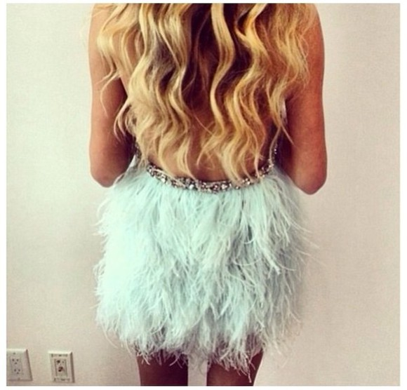 dress sparkles feathers teal tiffany blue feather dress party dress