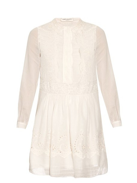 Saint Laurent dress folk white