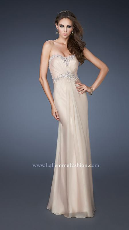 Illusion Back Strapless Chiffon Prom Gown Nude [Illusion Back Nude Dress LF18542] - $278.00 : Discover Unique Dresses Online at PromUnique.com