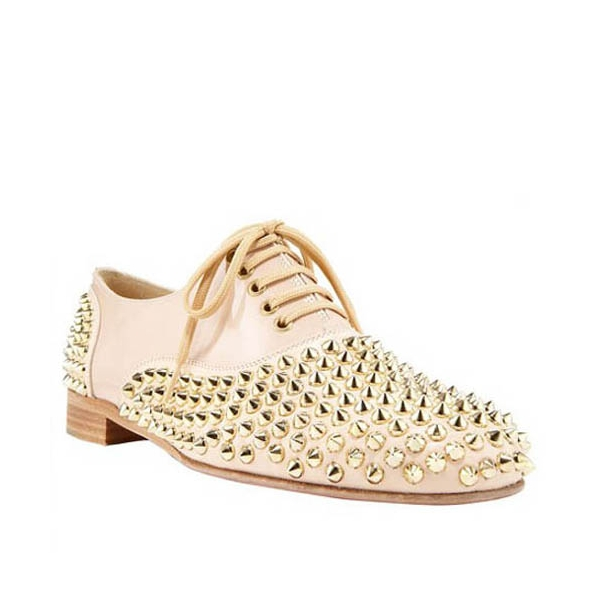 Christian Louboutin Freddy Studded Leather Lace Up Oxford Loafers Beige - soleheels.com