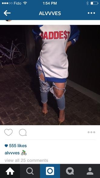 jeans ripped denim boyfriend jeans sweater shirt