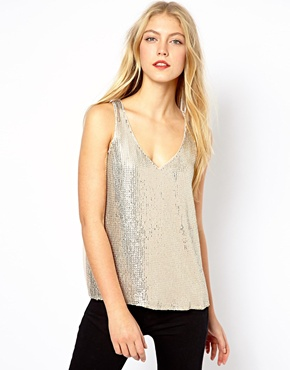 Oasis | Oasis Sequin Front Vest at ASOS
