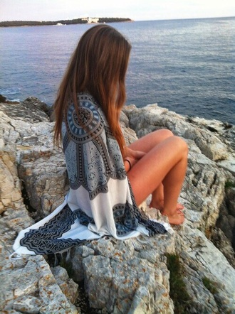 cardigan black white beach shawl kimono cover cover up beach shawl tapestry mandala silky throw roundie boho boho chic cute indie hipster tumblr scarf blue this exactly tribal pattern silk silk scarf grey blue cardigan brown swimwear indie boho cute sweater bohemian cape shawl wrap mosaic white kimono pattern blue pattern pattern kimono boho kimono japanese kimono hippie tropical patter