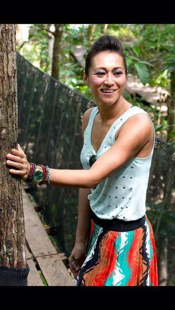 skirt watch accessories style fashion cute skirt top tops shirts summer shirt outfit cute shirt bracelets gold watch