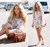 dress,summer dress,sunglasses,bag,shoes,floral,short dress,boho,jewels,roses,streetstyle,pink,pink shoes,high top sneakers,pink hightops,shirt,flowers,long sleeves,tunic,cute,white,sweater,summer,outfit,t-shirt,top,summer outfits,summer top,flowered print,blouse,girly,ootd,fashion,sweater dres,shredded