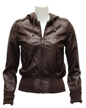 Amazon.com: Ladies Brown Synthetic Hooded Leather Jacket: Clothing on Wanelo