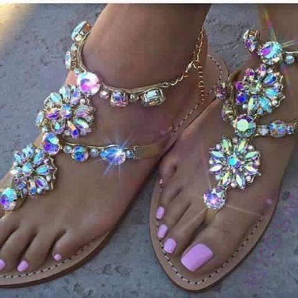 Shoes Jewels Flat Sandals Cute Jewelry Sandals