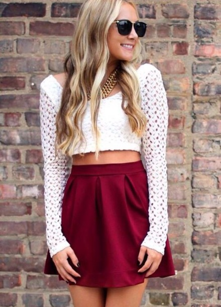 d226ac77b8fc3 skater short high waisted summer outfits crochet necklace sunglasses hot skater  skirt circle skirt burgundy high