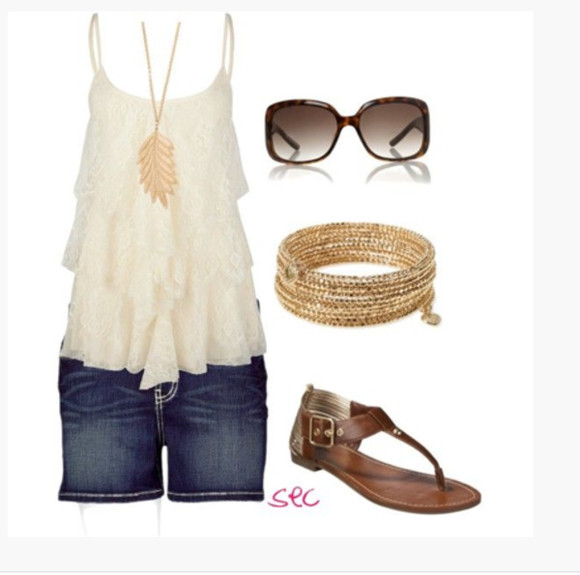 shoes sandals flat sandals shorts top tank top spaghetti strap sunglasses clothes outfit layered lace lacy cowl neck cream ivory long shorts bracelets necklace leaf necklace loose loose fit