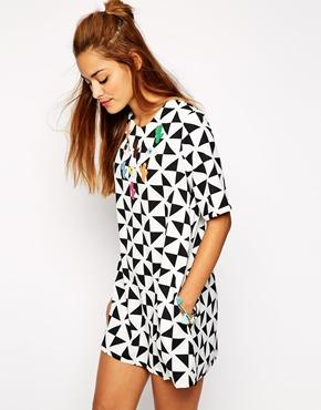 Native rose monochrome aline shift dress with cowgirl applique at asos