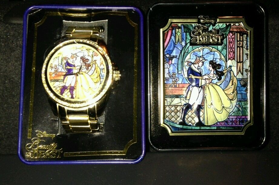 New disney beauty and the beast stained glass gold watch collector tin belle