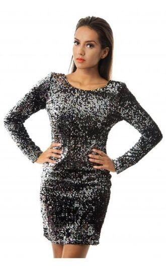 silver sequins sequin dress www.ustrendy.com bodycon dress black and silver dress black sequins sequin bodycon
