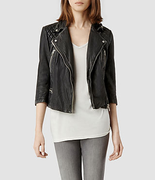Womens alford matte leather biker jacket (matt black)