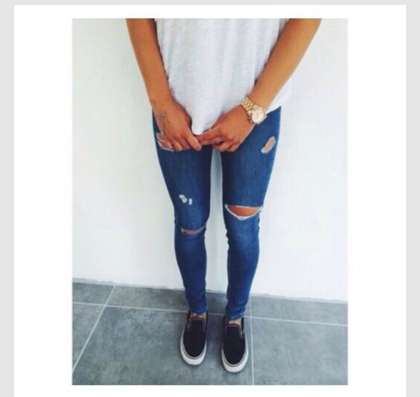 jeans blue ripped jeans