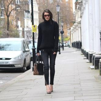 peexo blogger zip leopard print handbag skinny jeans