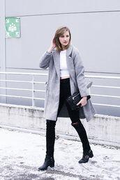 katiquette,blogger,black ripped jeans,wool coat,winter coat,grey coat
