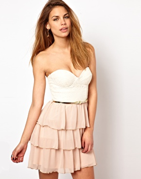 Elise Ryan | Elise Ryan Belted Lace Bandeau Dress with Ra Ra Skirt at ASOS