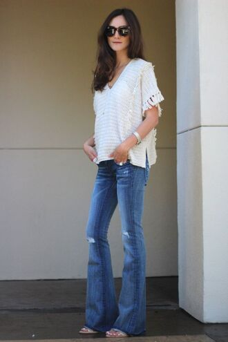 frankie hearts fashion blogger top jeans jewels sunglasses shoes