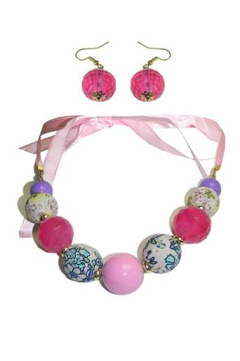 Ladies ilyse pastel bead and ribbon set