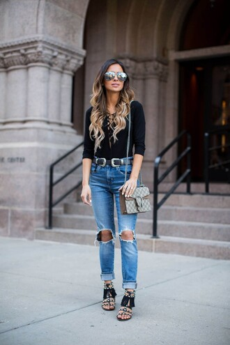 maria vizuete mia mia mine blogger black top long sleeves ripped jeans cropped jeans gucci dionysus lace up top aviator sunglasses flats blouse lace up bodysuit mirrored sunglasses
