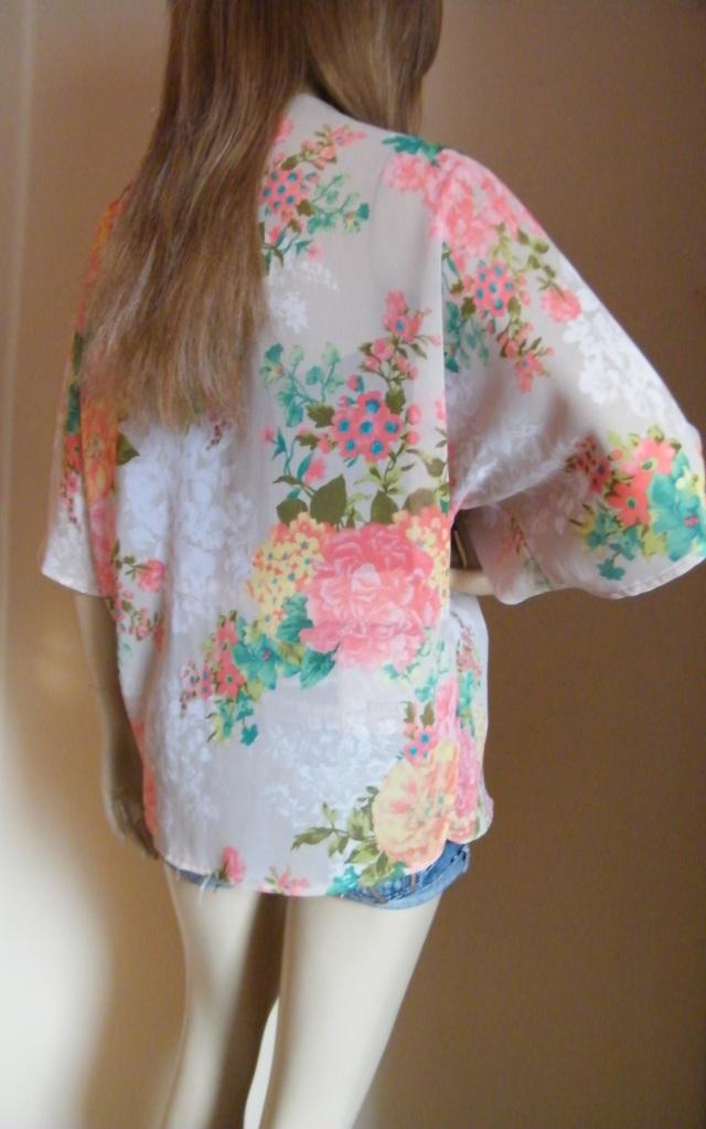 Blue Peach Floral Chiffon Kimono Cardigan Jacket Boho Top 6 8 10 ...