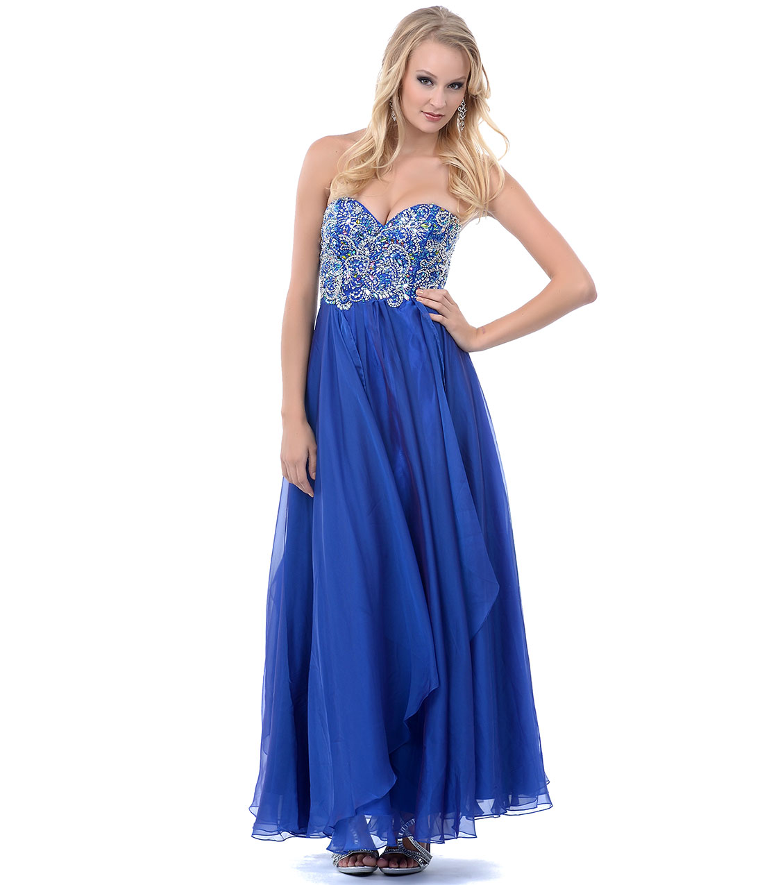 Prom Dresses - Blue Sapphire Jewel Beaded Long Strapless Prom ...